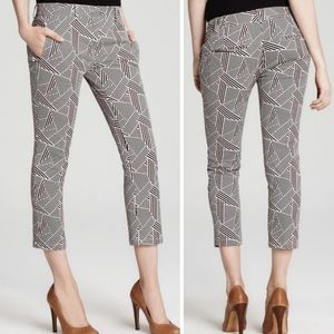 THEORY Black Red and Ivory Geometric Cropped Pants